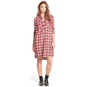 Madewell long sleeve flannel shirt dress red XS
